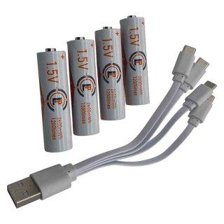 AA Batterie 4er Set Lithium Ionen Akku mit USB C Ladekabel 1,5 V / 2600 mWh