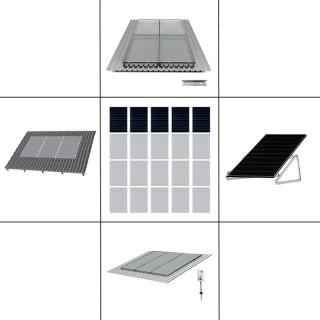 1-reihiges Solar-Montagesystem, silber, Hochkant-Verlegung, Montageart wählbar