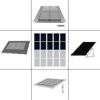 2-reihiges Solar-Montagesystem, silber, Hochkant-Verlegung, Montageart wählbar