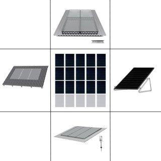3-reihiges Solar-Montagesystem, silber, Hochkant-Verlegung, Montageart wählbar