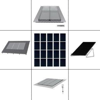 4-reihiges Solar-Montagesystem, silber, Hochkant-Verlegung, Montageart wählbar