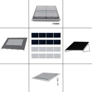 2-reihiges Solar-Montagesystem, silber, Quer-Verlegung, Montageart wählbar