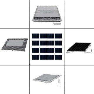 4-reihiges Solar-Montagesystem, silber, Quer-Verlegung, Montageart wählbar