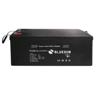 200 Ah 12 V BLUESUN Blei-Kohlenstoff Solarbatterie, Batteriespeicher für Solaranlagen,PV-Akku