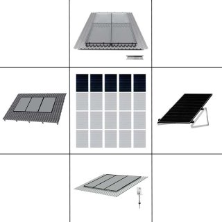 1-reihiges Solar-Montagesystem, schwarz, Hochkant-Verlegung, Montageart wählbar
