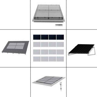 1-reihiges Solar-Montagesystem, schwarz, Quer-Verlegung, Montageart wählbar