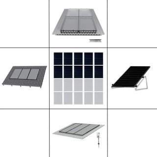 2-reihiges Solar-Montagesystem, schwarz, Hochkant-Verlegung, Montageart wählbar