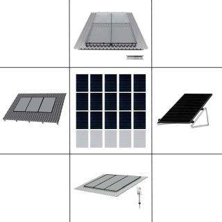 3-reihiges Solar-Montagesystem, schwarz, Hochkant-Verlegung, Montageart wählbar