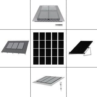 4-reihiges Solar-Montagesystem, schwarz, Hochkant-Verlegung, Montageart wählbar